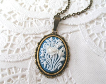 Rose Cameo Necklace, Antiqued Brass, Flower Cameo, Victorian Necklace, Blue and White