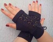 Black  short fingerless gloves - Corset Hand Steampunk Noir wedding Steampunk Noir Lolita Cosplay Costume Burlesque