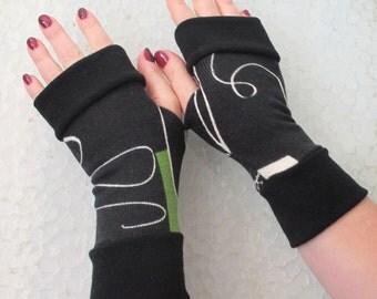 SALE GLOVESFingerless gloves  black  with  cuffs