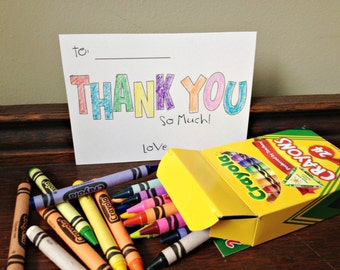 Kids Coloring Thank You Cards Instant Download DIY Print your own Color Crayons Children's Birthday Party Art