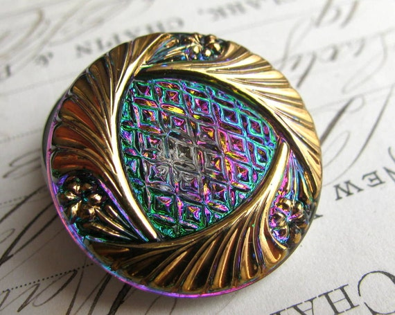 27mm rainbow triangle  Czech glass button - hand painted, hand forged - pink, emerald green, aqua blue, gold