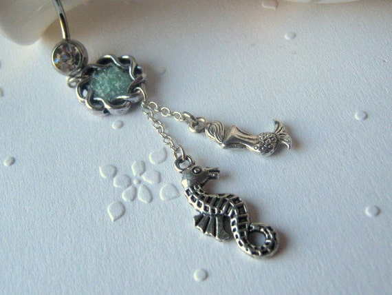 Choose Your Color, Mermaid and Seahorse Belly Button Ring, Belly Button Jewelry, Navel Ring, Dangle Belly Ring