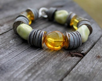 Honey Amber Grey Shell Bracelet Natural Earthy Gray Silver Yellow Gemstone Summer Fashion Jewelry  Chunky Toggle Asian Style Mother's day
