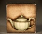 Vintage Hall Teapot Marble Tile Coaster  T111