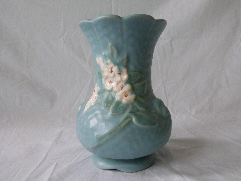 Vintage Weller Pottery Matte Blue Vase