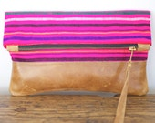 FROM MEXICO with LOVE - Rosado Fuerte. Hot Pink Mexican Striped Fabric Clutch