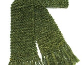 Green Scarf, Chunky Knit Scarf, Men or Women Winter Scarf, Long Scarf, Olive Green Scarf, Hand Knitted Scarf, Moss Green Scarf