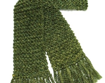 Green Scarf, 6 ft Long Chunky Knit Scarf, Men or Women Winter Scarf, Olive Green, Hand Knitted Scarf, Moss Green