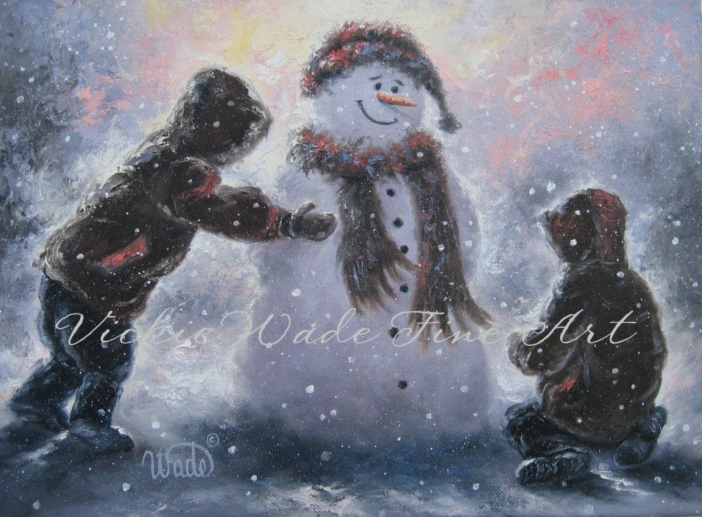 Snowman And Two Boys Art Print Two Brothers Snowman Paintings