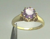 18K Victorian Yellow Gold Crown Ring...Antique Engagement Solitaire 7 mm Round 1.25 Cts. Natural Amethyst Gemstone
