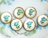 Vintage Glass buttons Japan Japanese Button Flowers Limoges One of kind Rare Floral Perennial