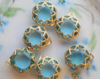 N748 Vintage Filigree Findings Charms Pendants Gold Tone Old Aqua Victorian Beads