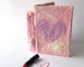 Felted journal notebook cover  Pink heart  gift under 25