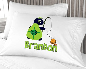 Turtle Fishing - Custom Pillow Case - Personalized for Boys or Girls