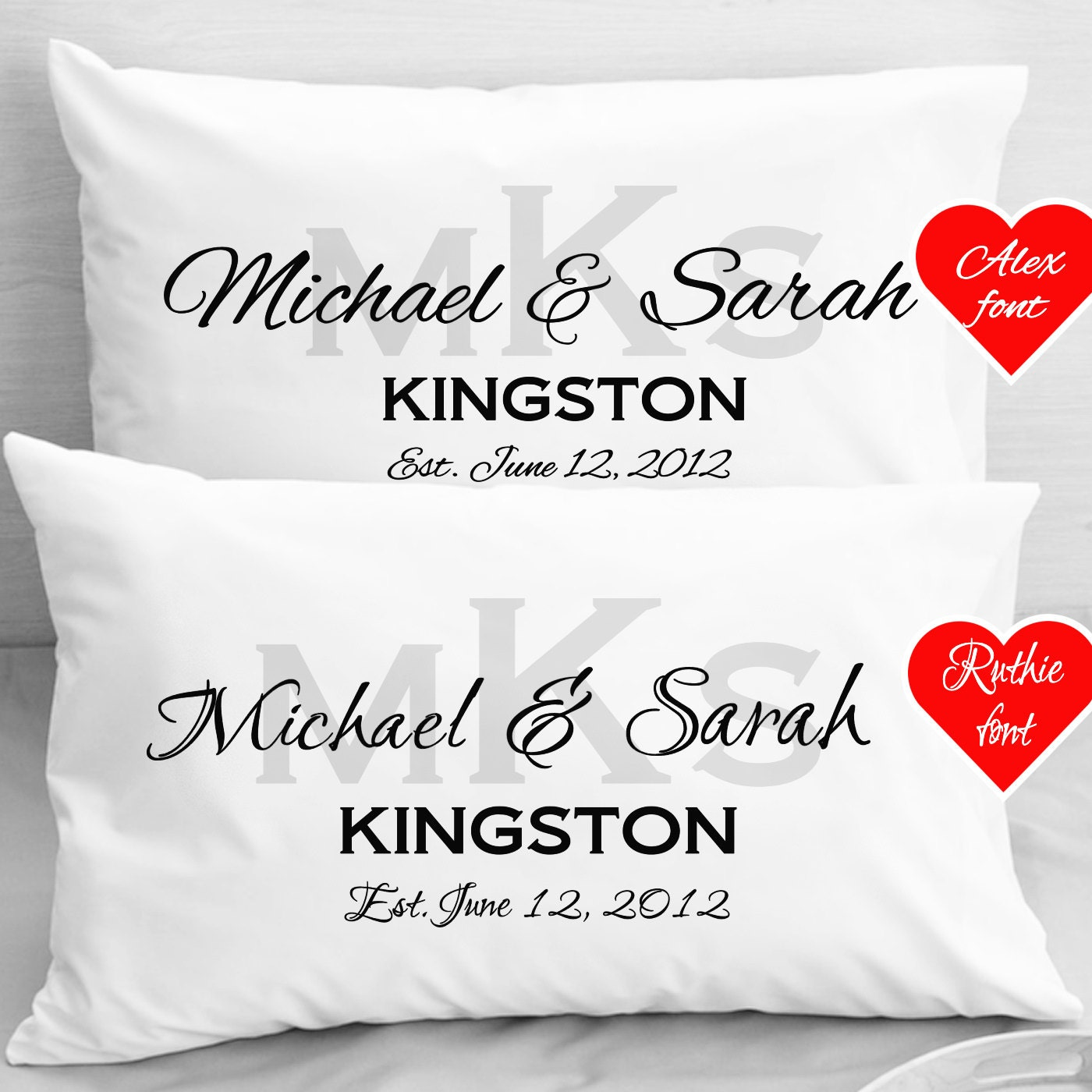 Personalised Wedding Gifts Pillow Cases : Personalized Wedding Pillow Cases Anniversary Newlyweds gifts