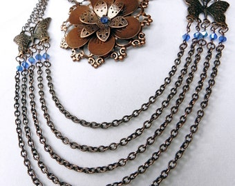 Necklace Neo-Victorian Metals Copper Flower necklace with sapphire crystals