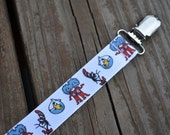 Ribbon Pacifier Clip- Dr. Seuss Cat in the Hat