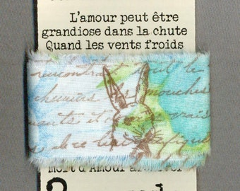 easter rabbit turquoise blue gift wrap shabby french chic trim vintage stamped Muslin c695 . ....oohlala
