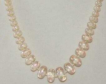 Beige iridescent Necklace, translucent, graduated, Vintage 1970's 1980's