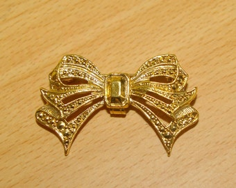 Vintage Bow Brooch, Bail for Chain, 1970's 1980's