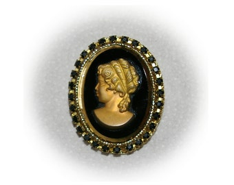Vintage Cameo Brooch, Lady in raised Gold Tone, Mirrored Oval, Black Rhinstones, NOS  1960's 1970's