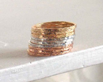9 Stacking Band Rings, Hammered Narrow Bands, Sterling Silver, Rose Gold Filled, Yellow Gold Filled, Tri Color Rings, Minimalist Rings