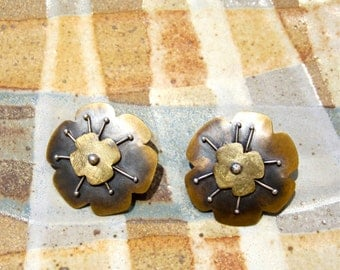 Signed Mixed Metals Flower Earrings Artisan Studio Work 1991 Handcrafted Hip Boho Accessories