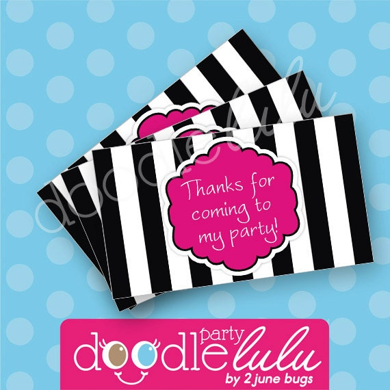 INSTANT DOWNLOAD DIY Party Favors Black White & Pink Birthday