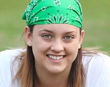 Kerchief Head Wrap Kelly Green Bandanna Retro Bandana Triangle Headscarf No Slip Kerchief Running Bandanna Big Head Bandana (#3007) S M L