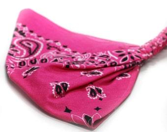Head Scarf Kerchief Hot Pink Fashion Bandana Women's Bandanna Triangle Kerchief Dreadlock Headwrap Hot Pink Fabric Kerchief (#3006) L