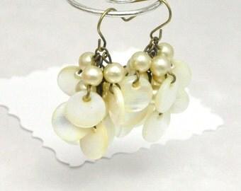 Bead Cluster Earrings Vintage Mother of Pearl Dangles