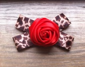 Red Flower Leopard Barrette- Hair Clip Accessory