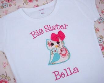 Big Sister Owl Shirt - Big Sister Shirt - Big Sis Shirt - Big Brother Shirt - Little Sister or Brother Bodysuit