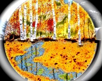 Fused Glass Aspen Maple Tree Oak Forest Autumn or Summer Panel Home Decor
