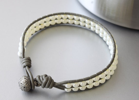 Leather Beaded Bracelet, Grey Leather, Almond White Beaded Bracelet, Knotted Bracelet, Teens Bracelet, Girls Bracelet