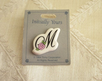 Pretty Pink M Initial Pin Brooch Vintage 1980s