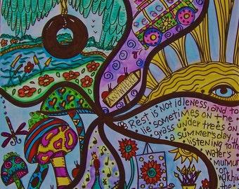 Hippie Art, Original, Summer Daze, Peace Love Happiness Art, Abstract Hippie Art, 11x 14, Psychedelic Hippie Art Abstract
