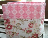 27 inch / 8 pockets Purse / Bag Organizer Insert - (Large) Pink Damask and Roses Print cotton fabric