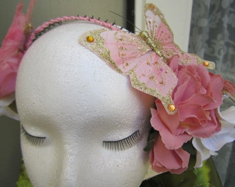 ATS,Tribal Fusion Belly dance hairband. Flowers and butterflies. Pink and white  SALE