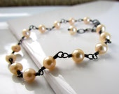 Peach Freshwater Pearl Bracelet, Hand Wrapped in Oxidized Sterling Silver