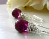 Dark Plum Glass Earrings, Eggplant Plum Bridesmaid Earrings, Sterling Silver, Aubergine Wire Wrapped Teardrop Earrings, Czech Glass Earring