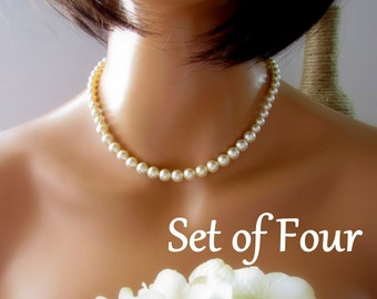 Classic Ivory Pearl Necklace, Pearl Necklace Bridesmaid, Single Strand Pearl Necklace, Sterling Silver, Swarovski Pearl, Gift Set