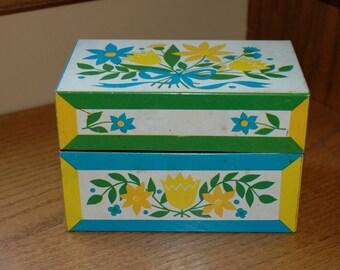 Vintage Metal Recipe Box Floral Yellow Blue Kitchen Storage 1970's