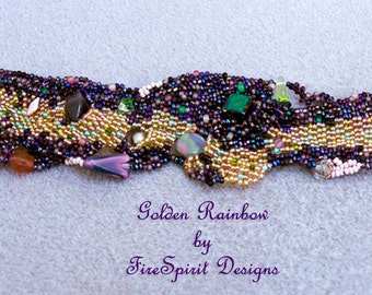 Golden Rainbow- beadwoven cuff- handmade bracelet- art to wear- beadweaving- sculptural peyote bracelet- woven jewelry- OOAK bracelet- gift