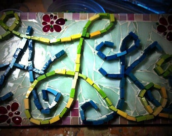 OOAK Mosaic Art - CUSTOM work Initial Monogram or Name Mosaic - Newlywed initials or for a child, made to your specifications and colors
