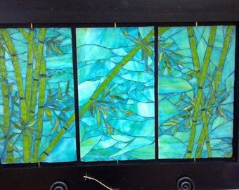Mixed Media Mosaic, Triple Bamboo Mosaic Panel, framed for your home or office, OOAK