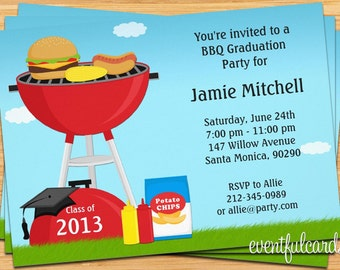 Class of 2017 High School/College Graduation BBQ Party Invitation - Print at Home or E-card