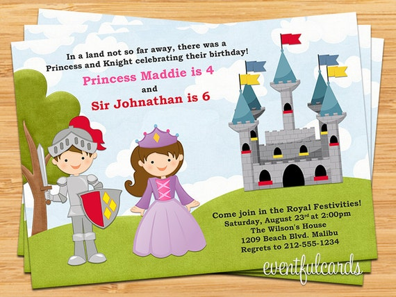 and Knight Birthday Party Invitation – Princess and Knight Party Invitations