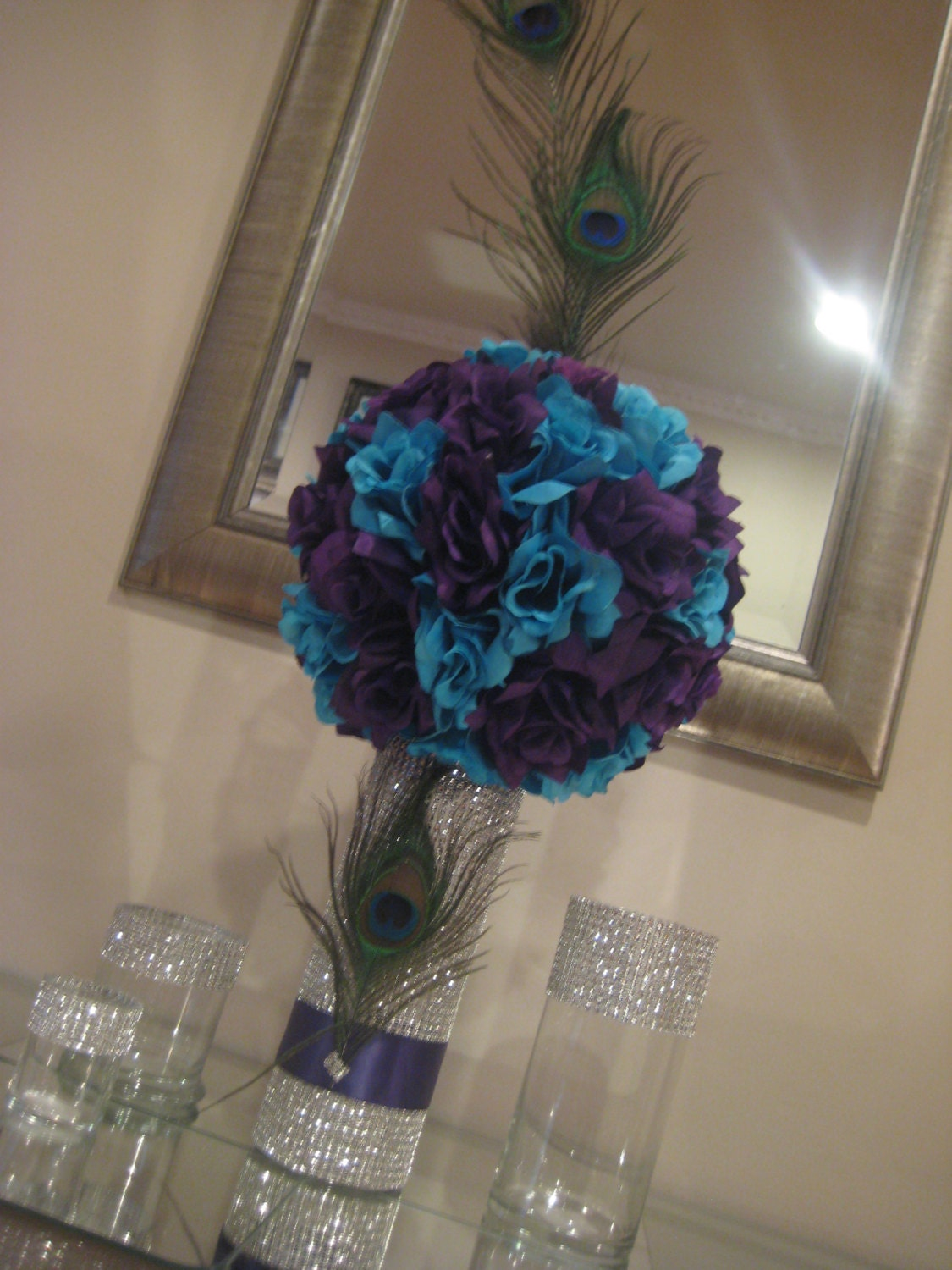Peacock centerpiece pomander by mykreations u on etsy
