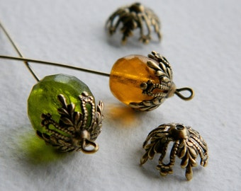 Brass Leaf Filigree BEAD CAPS,  Antique Brass, USA Made, 12mm (6pcs)